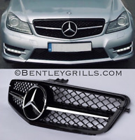 Mercedes C Class Grille W204 Grill C63 Look AMG Grille Black and Chrome