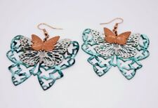 Boho Vintage Triple Layer Metal Butterfly Earrings - Silver Copper Patina