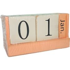 Wood Calendar Wood Blocks Perpetual Calendar Table Desk Organizer Gift