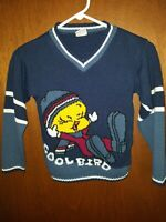 "Vintage Looney Tunes Sweater Small Knit ""Cool Bird"" Tweety Shirt VTG"