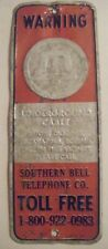SOUTHERN BELL TELEPHONE ANTIQUE METAL SIGN CABLE WARNING MANCAVE CHARLESTON SC