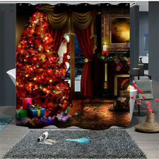 3D Creative Merry Christmas Tree  Bathroom Waterproof Shower Curtain With Hooks