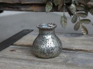 Mini Silver Mercury Dotted Glass Bottle Bud Flower Vase, Vintage Small 8x9cm