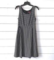 Merona Dress Womens Size XS Black White Striped A Line Sleeveless