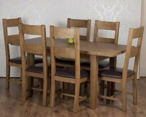 Solid Chunky Rustic Oak Dorset Extending Dining Table 6 Chairs RRP £1399!!