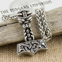 Viking Norse Dragon Thor's Hammer Silver Colour Pendant With Keel Chain Necklace