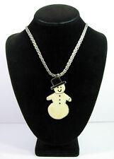 "Big SNOWMAN PENDANT Vintage NECKLACE CHRISTMAS  Enamel Silvertone Heavy  22"""