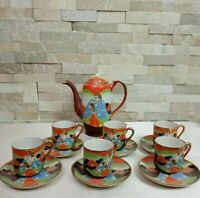 Vtg 13pc Japanese Porcelian Satsuma Moriage Geisha Made In Japan Stamped Tea Set