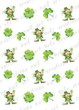 "20 Nail Decals * Leprechaun and Clovers"" Water Slide Nail Art Decals"