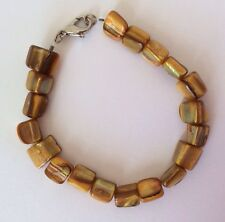 NEW Gold Coloured Yellow MOP Mother of Pearl Square Bead Bracelet Shell Shiny