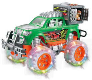 Dinosaur Hauler Monster Truck With Cage, Light & Music Jurassic Off Road Toy Car