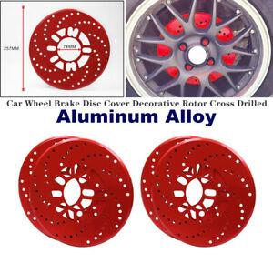 4PCS Aluminium Car Wheel Brake Disc Cover Vehicle Decorative Rotor Cross Drilled