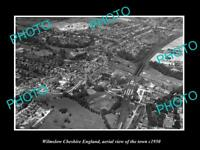 OLD LARGE HISTORIC PHOTO OF WILMSLOW ENGLAND, AERIAL VIEW OF THE TOWN c1950 2