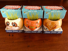 Buzzy Animals Grass Grow Kits Set of 3, Deer, Owl and Fox New In Box