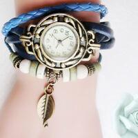 Women Children Fashion LeatherWinding Bracelet Leaf Pendant Wrist Watch Gift