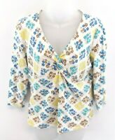 LAURA ASHLEY Womens T Shirt Top 16 White Blue Yellow Brown Floral Cotton