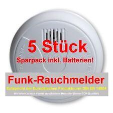 5er SET FUNK-Rauchmelder nach DIN EN 14604 inkl. Batterien Feuermelder -SONDER