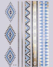 GOLD Metallic Flash Tattoos Bling Body Silber Türkis temporär Armbänder W-362