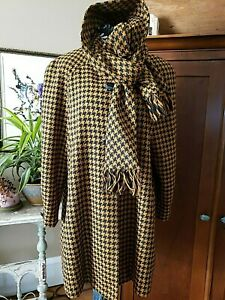 Vintage Lilli Ann San Francisco Wool Black & Brown Houndstooth Shawl Neck Coat