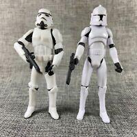 "2pcs 3.75"" Star Wars Stormtroopers OTC Trilogy & No.5 Clone Trooper Figures"