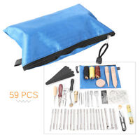 59PCS Leather Craft Tools Kit Set For Hand Stitching/Sewing Punch Carving Stamp
