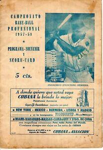 "1957 Orig.Cuban Official Baseball Score Card Program FCO. ""PANCHON"" HERRERA"