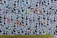 Stoff Baumwolle beschichtet, Aitana, Graffiti Katzen bunt, 160 cm