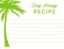 Green Palm Tree Easy Breezy Lined Recipe Cards - New In Package