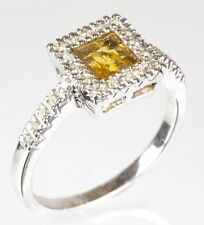 Halo Citrine Ring with Diamond in 14k White Gold ( D 0.25 )