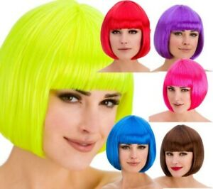 Coloured Bob Wigs Ladies Short Fringed Bob Wig Fancy Dress Accessory
