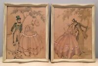 Antique Set of 2 Maude Eggemeyer 12x16 Lithographs Original Wood Painted Frames
