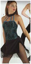Dance Costume Jazz Dress Fringed hem Glittered bodice Strappy detail Small adult