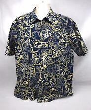 Reyn Spooner L Blue Ivory Paisley Flowers Hawaiian Shirt Aloha Friday