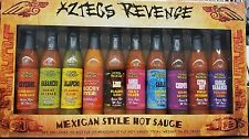 Aztecs Revenge Collection 10 Mexican Style Hot Sauce Gift Box Set Spicy Cooking