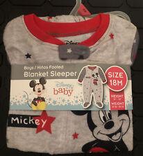 Mickey Mouse Baby Boy Microfleece Blanket Sleeper Pajamas 18 Months New