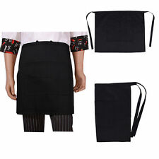 12 Pack Black Apron Short Length With Pockets Best Commercial Qual Washable