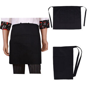 3 Pack Black Apron Short Length With Pockets Commercial Quality Washable