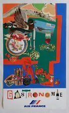 Affiche publicitaire tourisme AIR FRANCE , Gastronomie - Roger BEZOMBES - avion