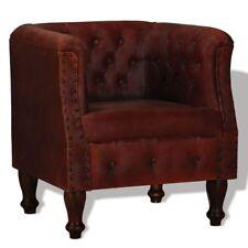 Poltrona chesterfield in Vera pelle di capra colore Marrone design Classico
