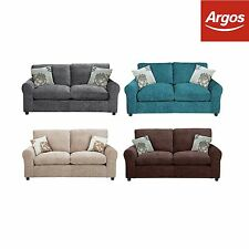HOME Tessa 2 Seater Fabric Metal Action Sofa Bed - Teal/Chocolate/Mink/Charcoal
