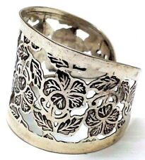 FLORAL Silver Oxidized Cuff Bracelet Charm Wristlet Wrist Band Bangle Jewelry 2