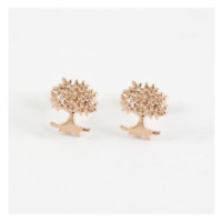 925 Sterling Silver Rose Gold Tree of Life Stud Earrings