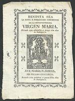 Grabado antiguo de la Virgen andachtsbild santino holy card santini