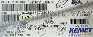 Partial Reel 800pcs+ Kemet C0805C105K3RAC7800 1uF 25V 10% 0805 Ceramic Capacitor