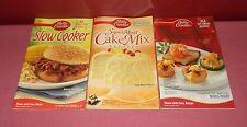 3 BETTY CROCKER COOKBOOK Slow Cooker Appetizers Cake Mix Paperback Color Plates