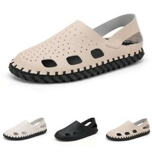 Summer Mens Faux Leather Sandals Shoes Closed Toe Slip on Walking Sports Flats