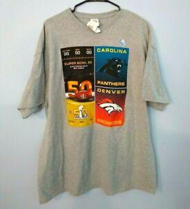 Super Bowl 50 Denver Broncos vs. Carolina Panthers NFL Football T-shirt size XXL