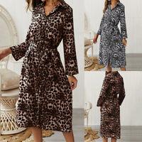 ZANZEA 10-24 Women Long Sleeve Leopard Print Shirt Dress Belt Tie Midi Dress NEW