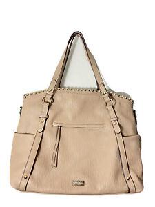 Jessica Simpson Large Tote Bag Gold Studded Faux Leather Purse Camile Beige Noho