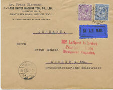 "2402 1928 GV 2 ½ D and 3 D on fine early flight cover ""LONDON - COLOGNE"" rare"